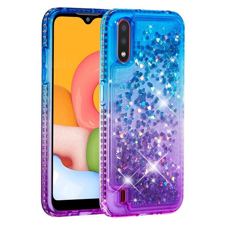 Diamond Frame Liquid Glitter Quicksand Sequins Phone Case for Samsung Galaxy A01 - Blue Purple