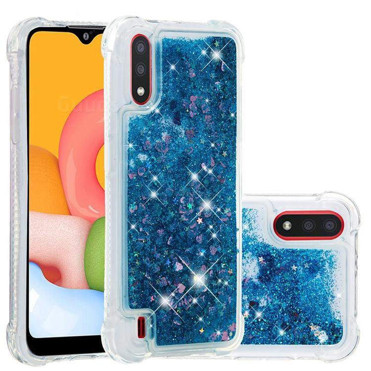 Dynamic Liquid Glitter Sand Quicksand TPU Case for Samsung Galaxy A01 - Blue Love Heart