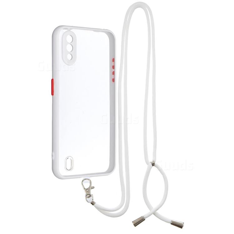 Necklace Cross-body Lanyard Strap Cord Phone Case Cover for Samsung Galaxy A01 - White