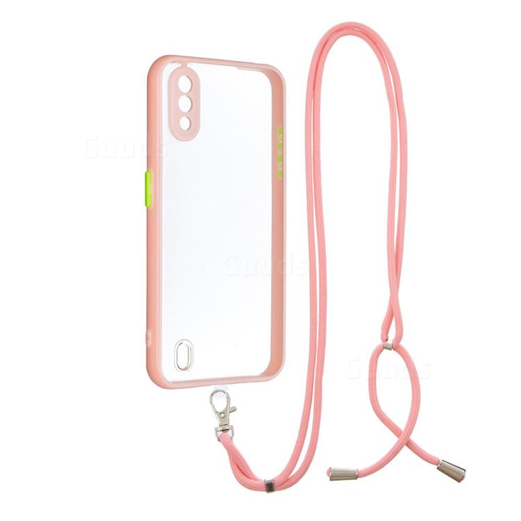 Necklace Cross-body Lanyard Strap Cord Phone Case Cover for Samsung Galaxy A01 - Pink