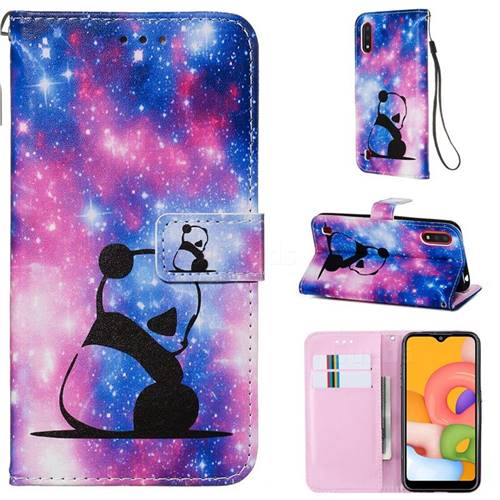 Panda Baby Matte Leather Wallet Phone Case for Samsung Galaxy A01