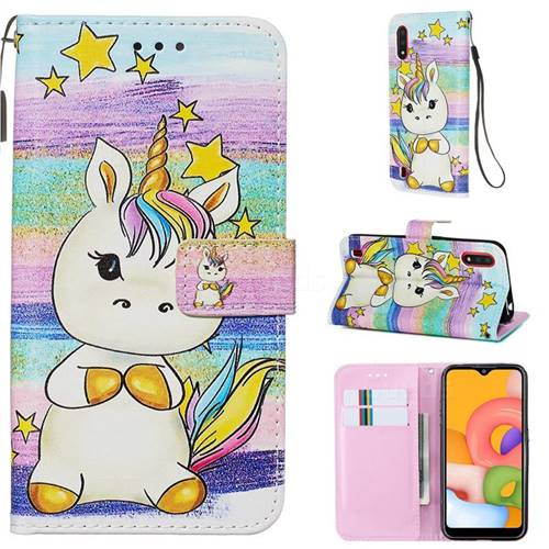 Spiral Pony Matte Leather Wallet Phone Case for Samsung Galaxy A01