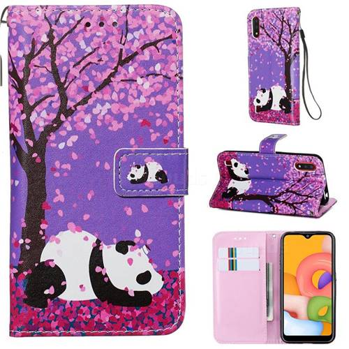 Cherry Blossom Panda Matte Leather Wallet Phone Case for Samsung Galaxy A01