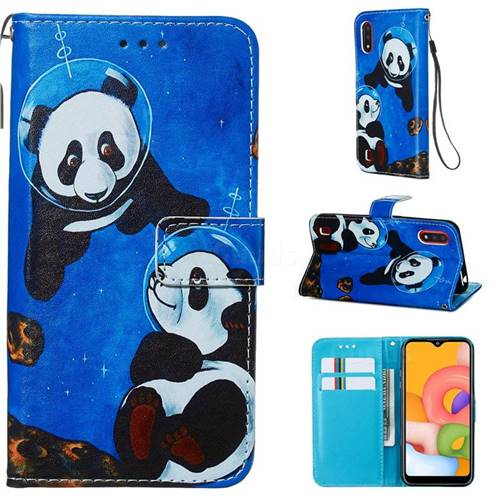 Undersea Panda Matte Leather Wallet Phone Case for Samsung Galaxy A01