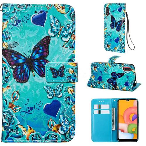 Love Butterfly Matte Leather Wallet Phone Case for Samsung Galaxy A01