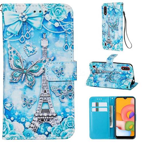 Tower Butterfly Matte Leather Wallet Phone Case for Samsung Galaxy A01