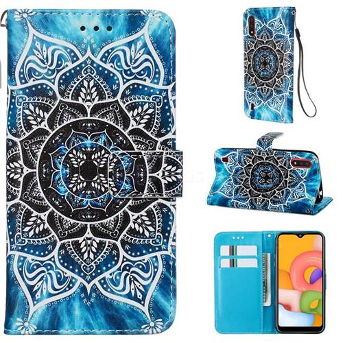 Underwater Mandala Matte Leather Wallet Phone Case for Samsung Galaxy A01