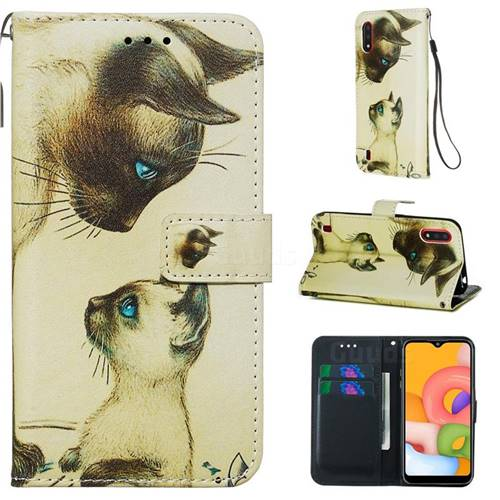 Cat Confrontation Matte Leather Wallet Phone Case for Samsung Galaxy A01