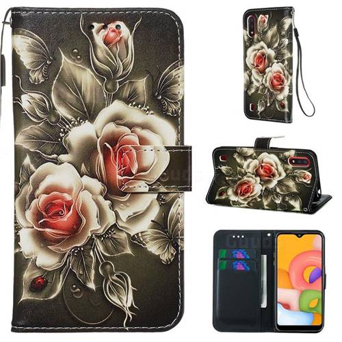 Black Rose Matte Leather Wallet Phone Case for Samsung Galaxy A01
