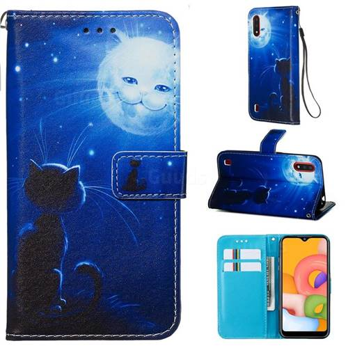 Cat and Moon Matte Leather Wallet Phone Case for Samsung Galaxy A01