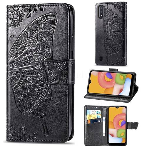 Embossing Mandala Flower Butterfly Leather Wallet Case for Samsung Galaxy A01 - Black