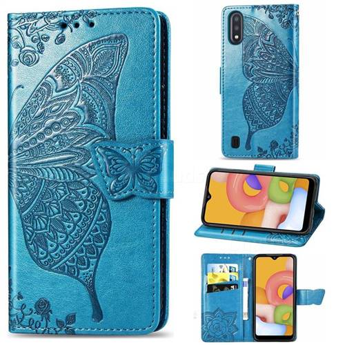 Embossing Mandala Flower Butterfly Leather Wallet Case for Samsung Galaxy A01 - Blue