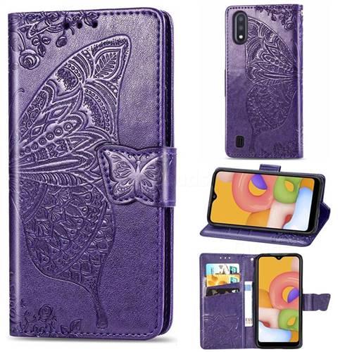 Embossing Mandala Flower Butterfly Leather Wallet Case for Samsung Galaxy A01 - Dark Purple