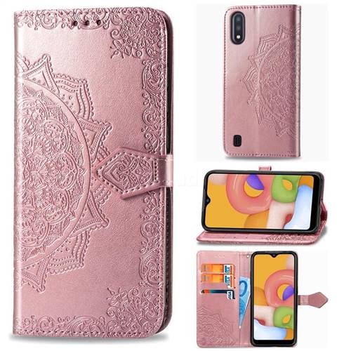 Embossing Imprint Mandala Flower Leather Wallet Case for Samsung Galaxy A01 - Rose Gold