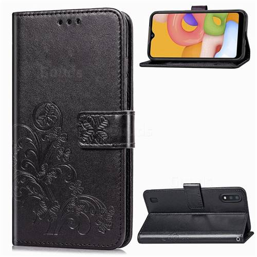 Embossing Imprint Four-Leaf Clover Leather Wallet Case for Samsung Galaxy A01 - Black