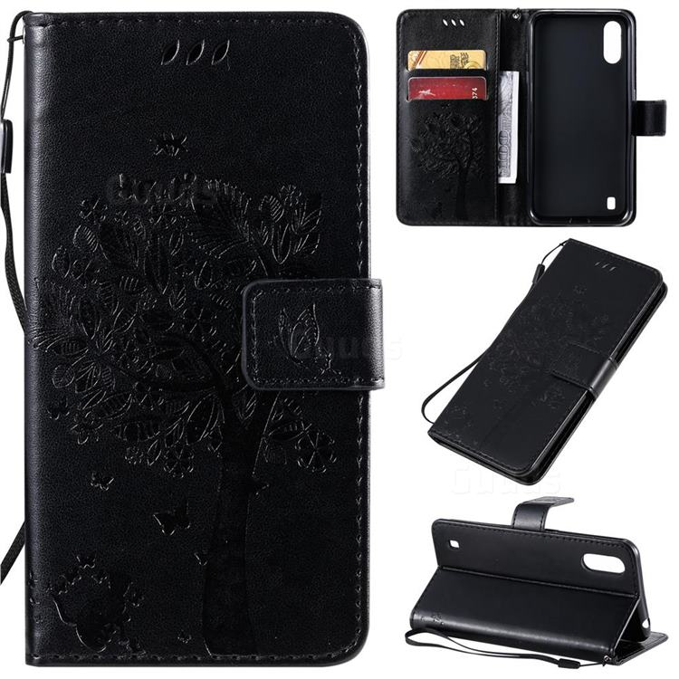 Embossing Butterfly Tree Leather Wallet Case for Samsung Galaxy A01 - Black