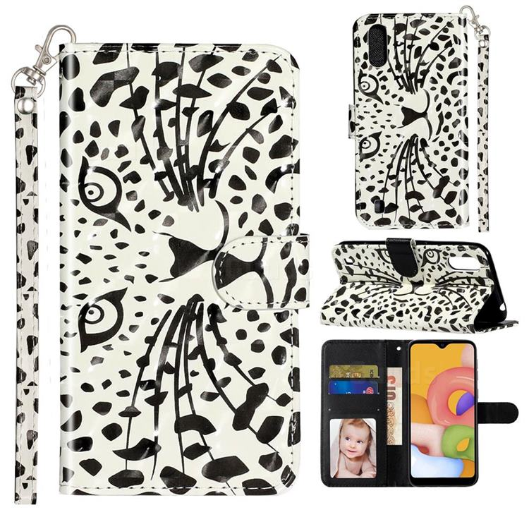 Leopard Panther 3D Leather Phone Holster Wallet Case for Samsung Galaxy A01