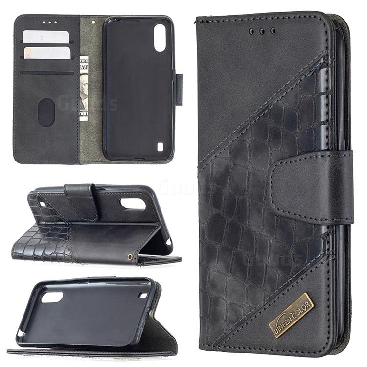 BinfenColor BF04 Color Block Stitching Crocodile Leather Case Cover for Samsung Galaxy A01 - Black