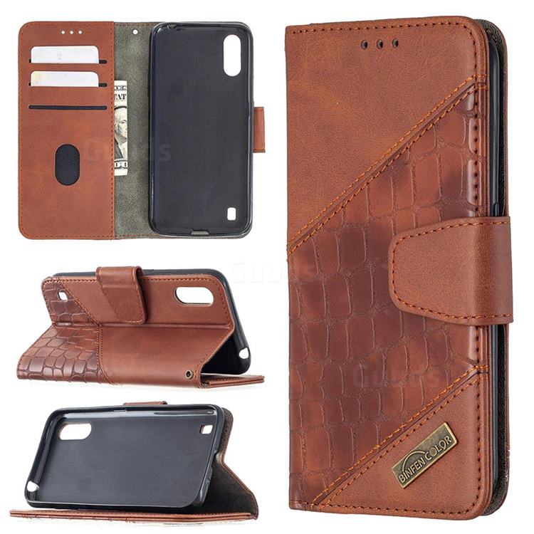 BinfenColor BF04 Color Block Stitching Crocodile Leather Case Cover for Samsung Galaxy A01 - Brown