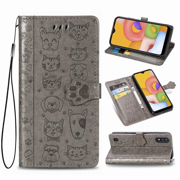 Embossing Dog Paw Kitten and Puppy Leather Wallet Case for Samsung Galaxy A01 - Gray