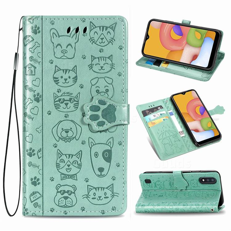 Embossing Dog Paw Kitten and Puppy Leather Wallet Case for Samsung Galaxy A01 - Green