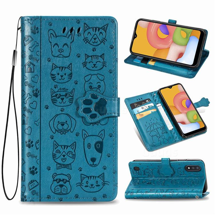Embossing Dog Paw Kitten and Puppy Leather Wallet Case for Samsung Galaxy A01 - Blue