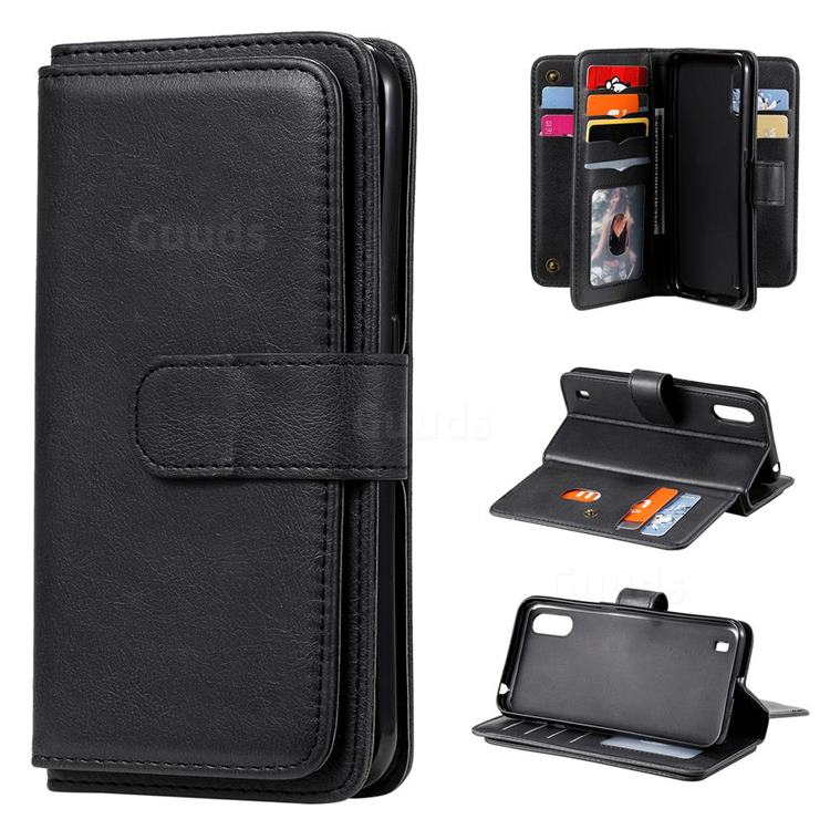 Multi-function Ten Card Slots and Photo Frame PU Leather Wallet Phone Case Cover for Samsung Galaxy A01 - Black
