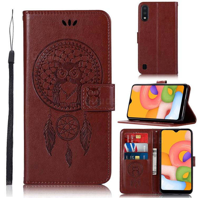 Intricate Embossing Owl Campanula Leather Wallet Case for Samsung Galaxy A01 - Brown