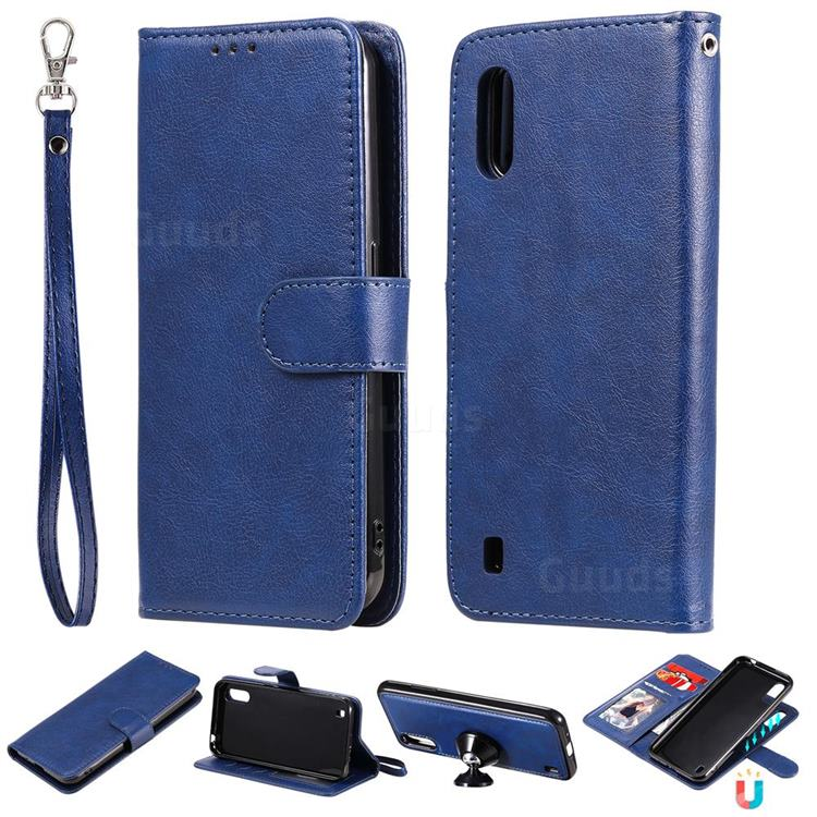 Retro Greek Detachable Magnetic PU Leather Wallet Phone Case for Samsung Galaxy A01 - Blue