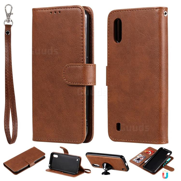 Retro Greek Detachable Magnetic PU Leather Wallet Phone Case for Samsung Galaxy A01 - Brown