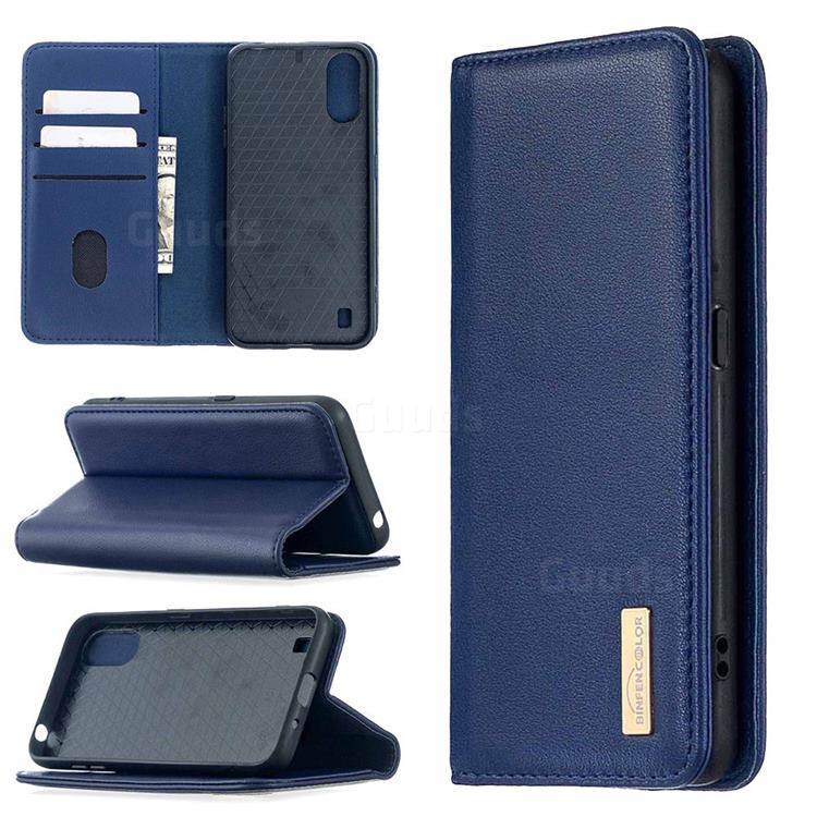 Binfen Color BF06 Luxury Classic Genuine Leather Detachable Magnet Holster Cover for Samsung Galaxy A01 - Blue
