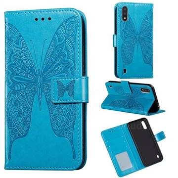 Intricate Embossing Vivid Butterfly Leather Wallet Case for Samsung Galaxy A01 - Blue