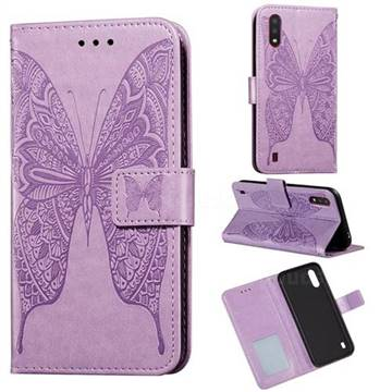 Intricate Embossing Vivid Butterfly Leather Wallet Case for Samsung Galaxy A01 - Purple