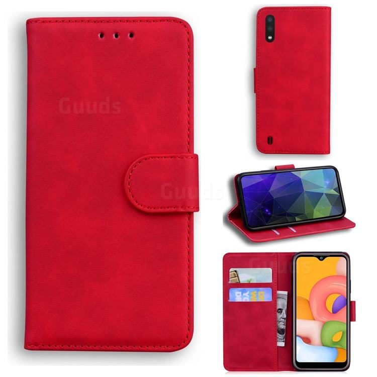 Retro Classic Skin Feel Leather Wallet Phone Case for Samsung Galaxy A01 - Red