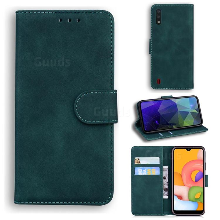 Retro Classic Skin Feel Leather Wallet Phone Case for Samsung Galaxy A01 - Green