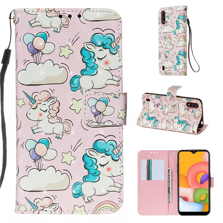 Angel Pony 3D Painted Leather Wallet Case for Samsung Galaxy A01