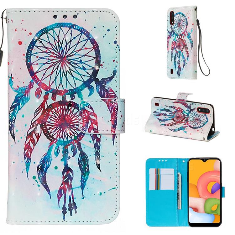 ColorDrops Wind Chimes 3D Painted Leather Wallet Case for Samsung Galaxy A01