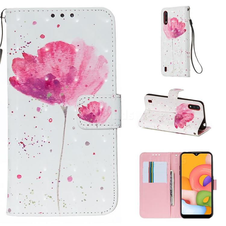 Watercolor 3D Painted Leather Wallet Case for Samsung Galaxy A01