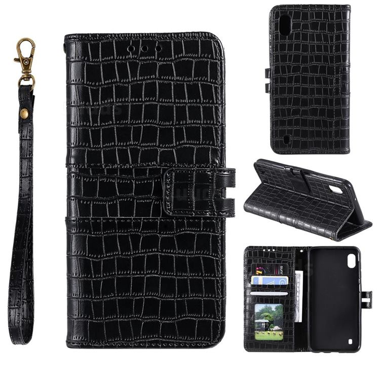 Luxury Crocodile Magnetic Leather Wallet Phone Case for Samsung Galaxy A01 - Black