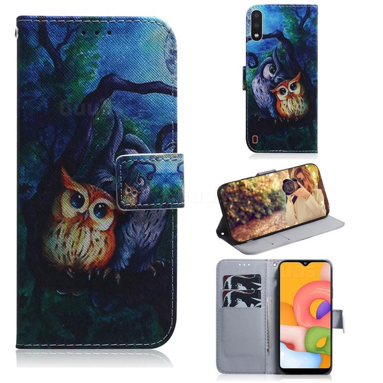 Oil Painting Owl PU Leather Wallet Case for Samsung Galaxy A01