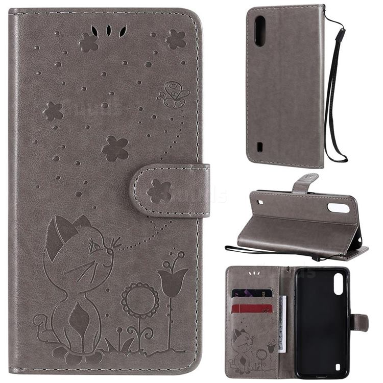 Embossing Bee and Cat Leather Wallet Case for Samsung Galaxy A01 - Gray