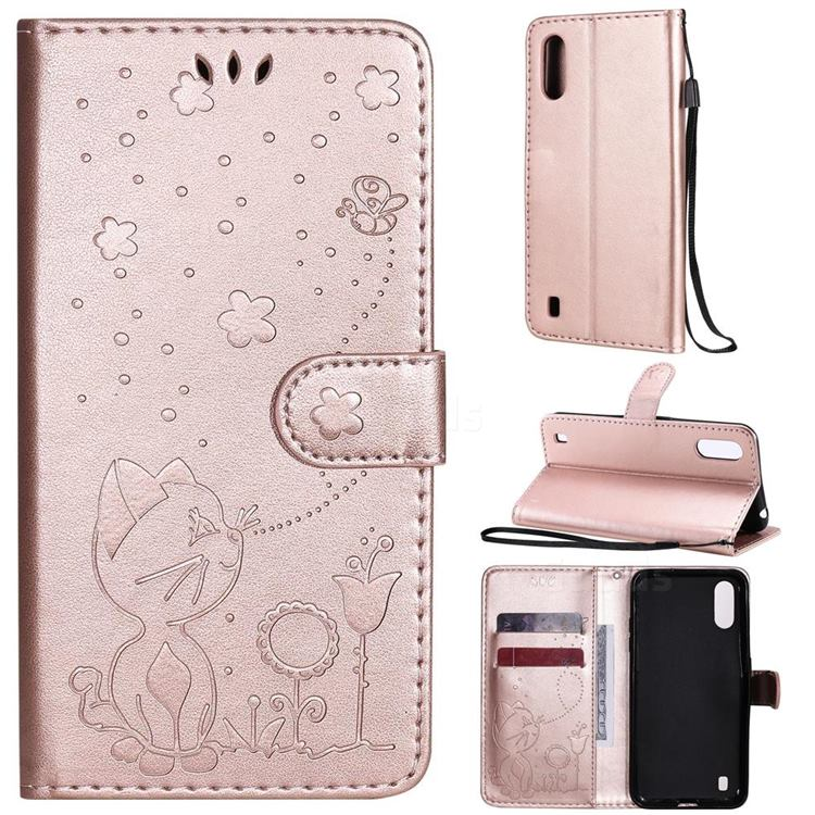 Embossing Bee and Cat Leather Wallet Case for Samsung Galaxy A01 - Rose Gold