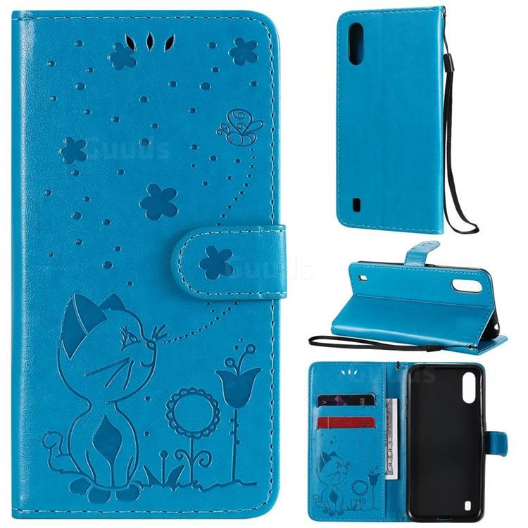Embossing Bee and Cat Leather Wallet Case for Samsung Galaxy A01 - Blue
