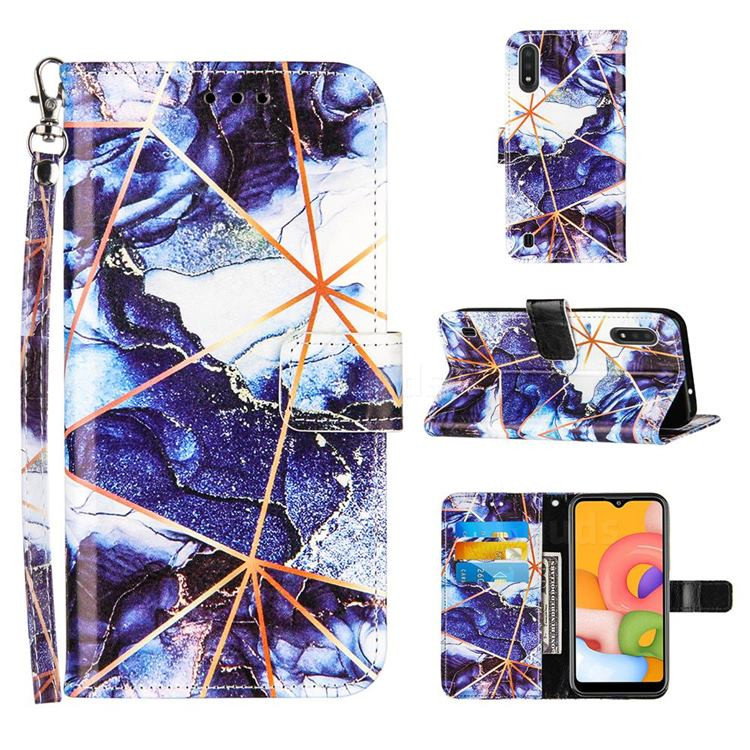 Starry Blue Stitching Color Marble Leather Wallet Case for Samsung Galaxy A01