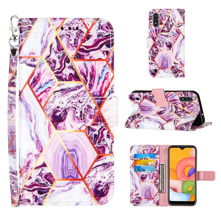 Dream Purple Stitching Color Marble Leather Wallet Case for Samsung Galaxy A01