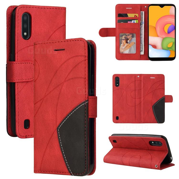 Luxury Two-color Stitching Leather Wallet Case Cover for Samsung Galaxy A01 - Red