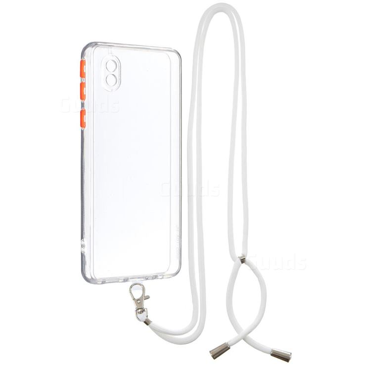 Necklace Cross-body Lanyard Strap Cord Phone Case Cover for Samsung Galaxy A01 Core - Transparent