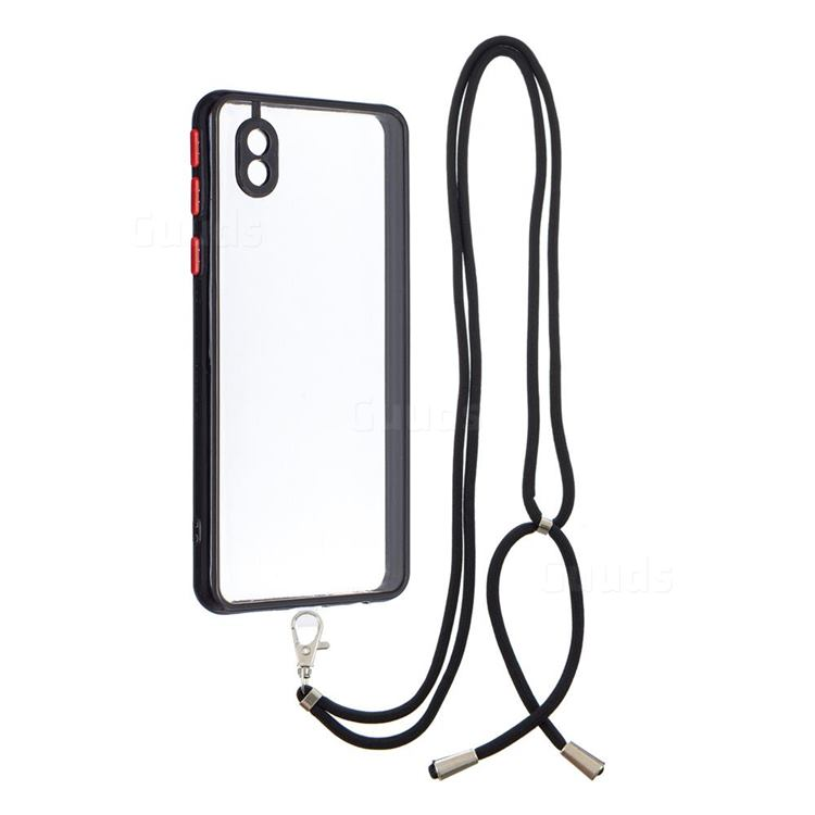 Necklace Cross-body Lanyard Strap Cord Phone Case Cover for Samsung Galaxy A01 Core - Black