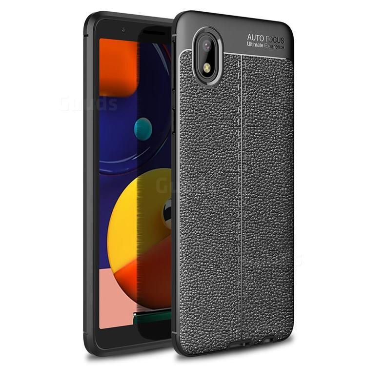 Luxury Auto Focus Litchi Texture Silicone TPU Back Cover for Samsung Galaxy A01 Core - Black