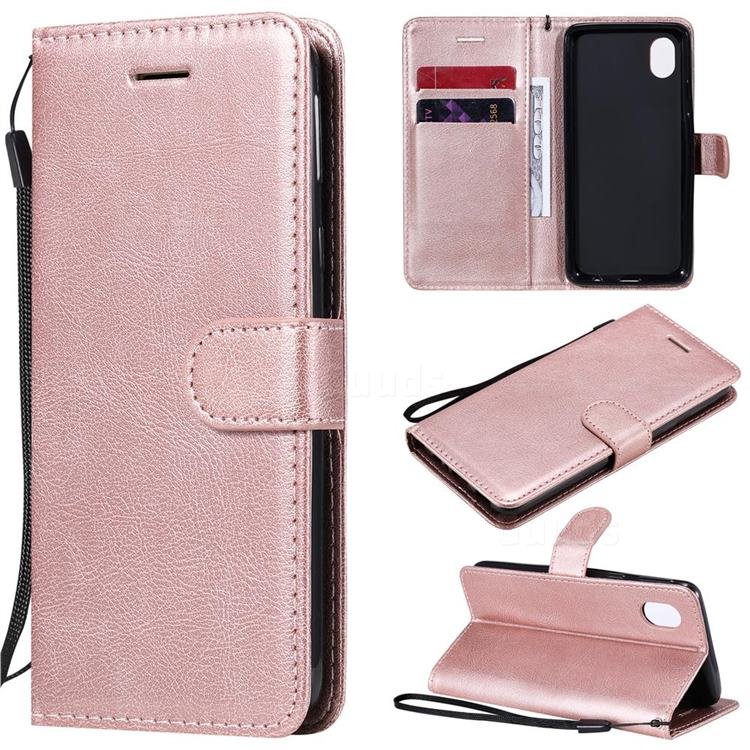 Retro Greek Classic Smooth PU Leather Wallet Phone Case for Samsung Galaxy A01 Core - Rose Gold